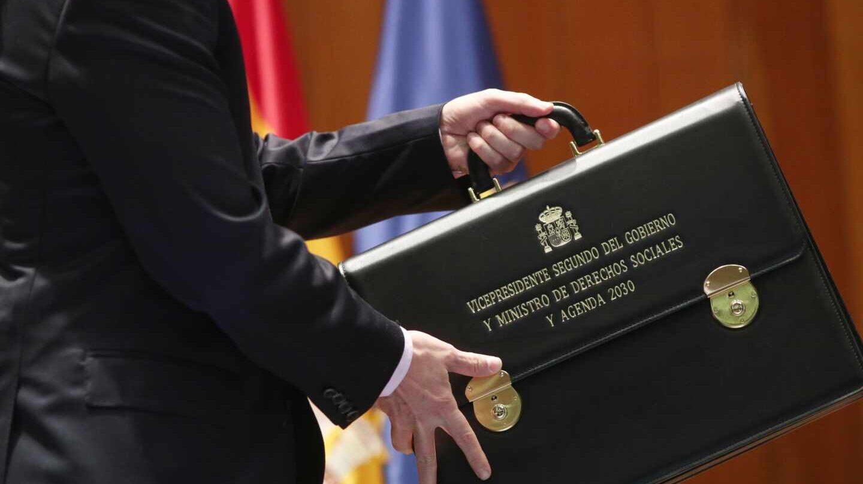 Pablo Iglesias, portando este lunes la cartera de vicepresidente del Gobierno y ministro de Derechos Sociales y Agenda 2030.