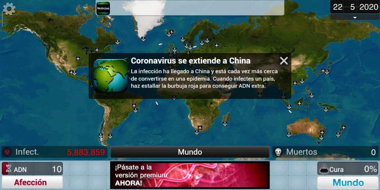 Imagen (ficticia) de un videojuego sobre el coronavirus