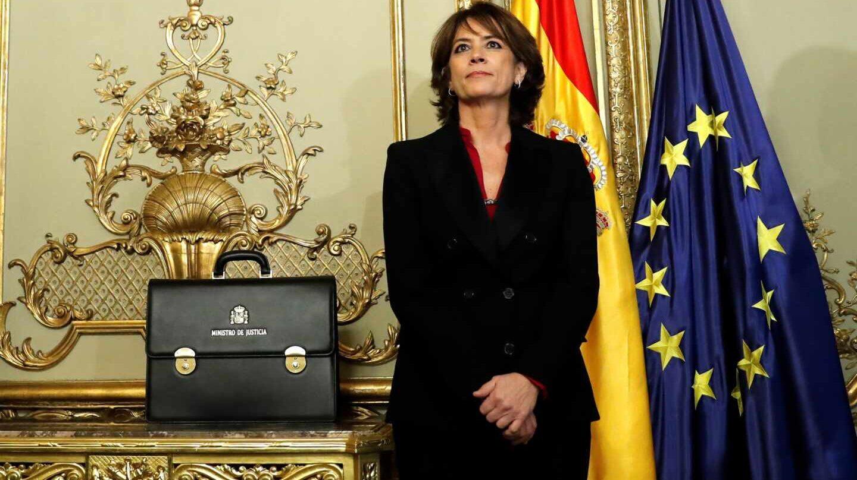 La exministra de Justicia Dolores Delgado durante el acto de traspaso de cartera a su sucesor en el cargo, Juan Carlos Campo.