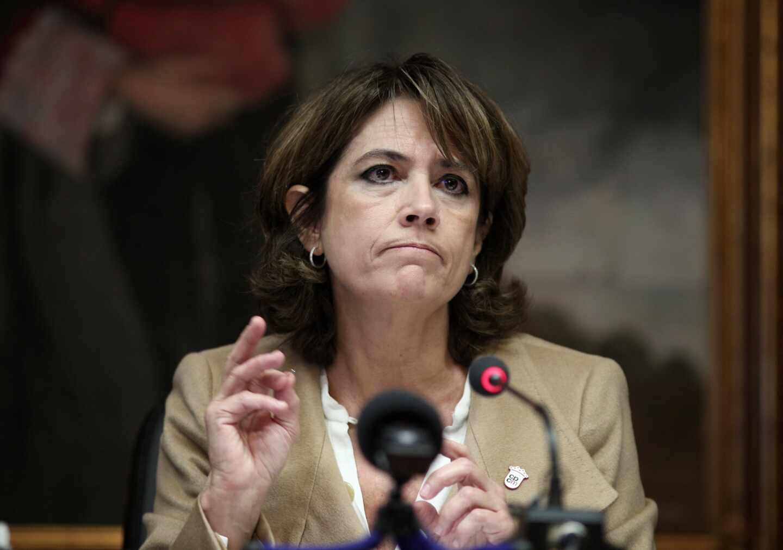 La fiscal general del Estado, Dolores Delgado, en una comparecencia pública.