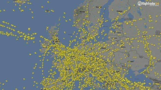 Mapa de localización de vuelos en Europa.