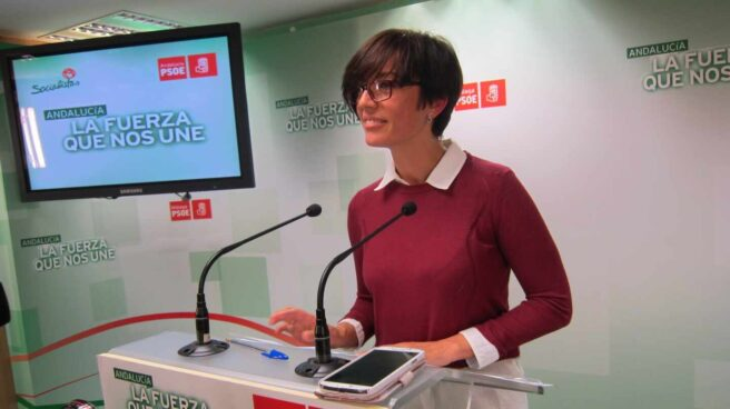 María Gámez, durante una rueda de prensa en la sede del PSOE de Málaga.