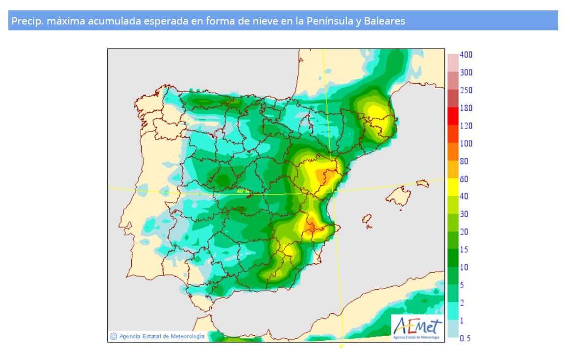 Gloria llega a España: nevadas copiosas, vientos de 100 km/h y olas de 8 metros en el Mediterráneo