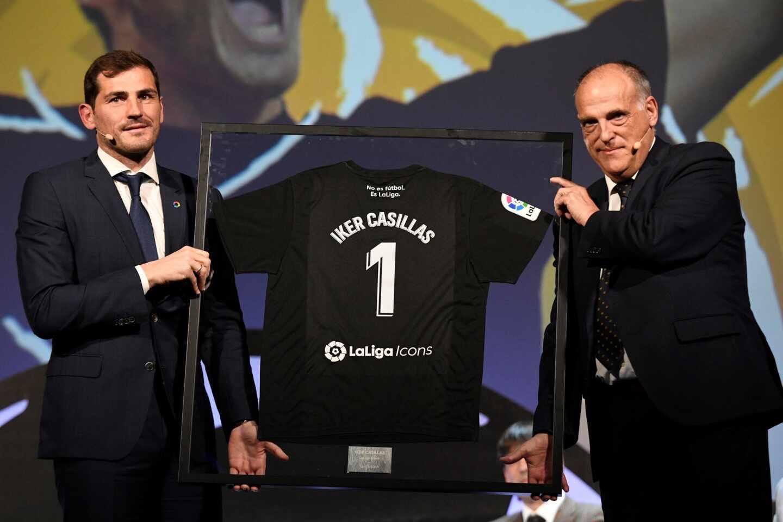 Casillas y Tebas durante un acto de LaLiga en marzo de 2019