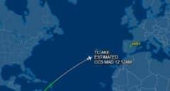 Posición que ocupaba el avión de Delcy Rodríguez cuando el Ministerio del Interior conoció que se dirigía a Madrid.
