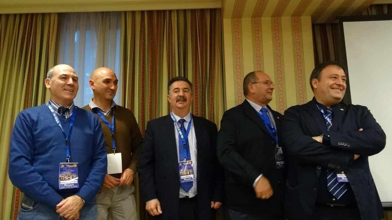 De izquierda a derecha, Manuel Gutiérrez Teba, Serafín Giraldo, José Manuel Heredia, Juan Verdugo y Víctor Duque, en un acto del sindicato.