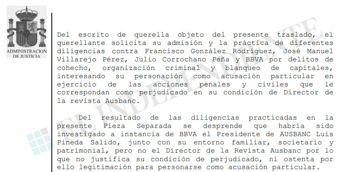 Pasaje del auto en el que el juez ve indicios de que Villarejo investigó a Pineda.