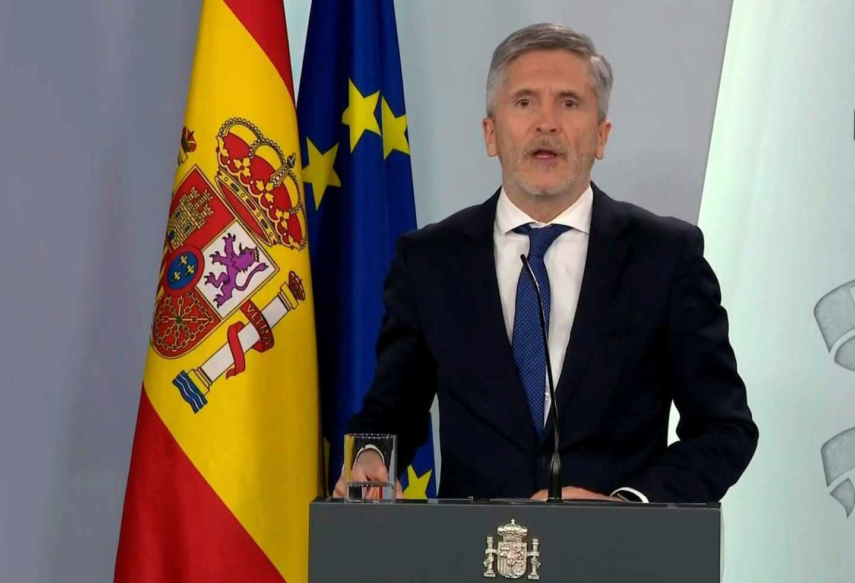 El ministro del Interior, Fernando Grande-Marlaska, en una comparecencia informativa.