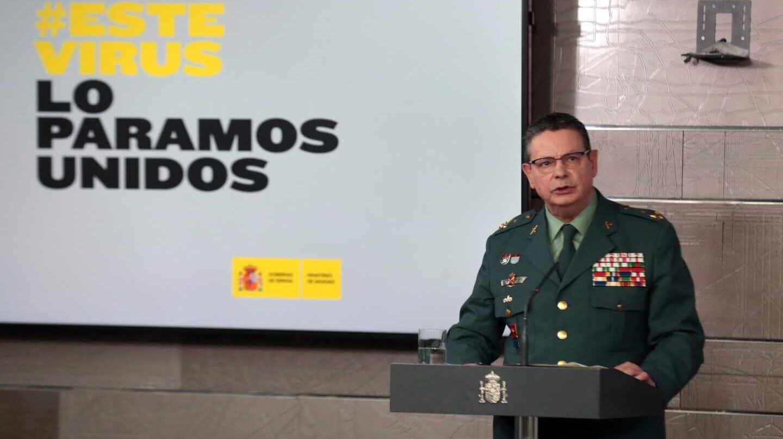 El DAO de la Guardia Civil, Laurentino Ceña, en una comparecencia informativa reciente en el Palacio de la Moncloa.