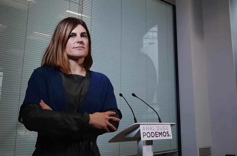 La candidata a lehendakari po Podemos, Maite Gorrotxategi, en la sede de la formación en Bilbao.