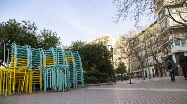 Imagen de hoy en la Plaza de Olavide, uno de los lugares con más terrazas de Madrid