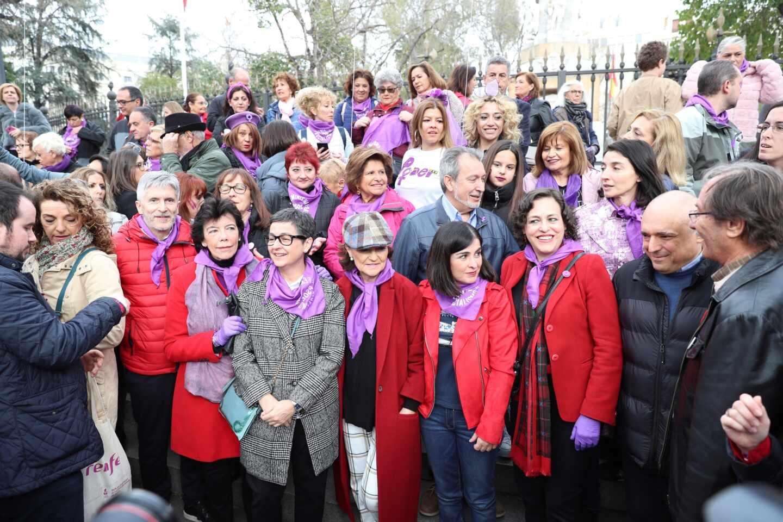 Varios ministros, en la última manifestación del 8-M en Madrid.