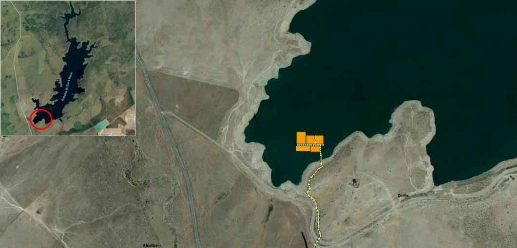 Imagen de la ubicación de la planta solar en el embalse de Sierra Brava, en Cáceres.
