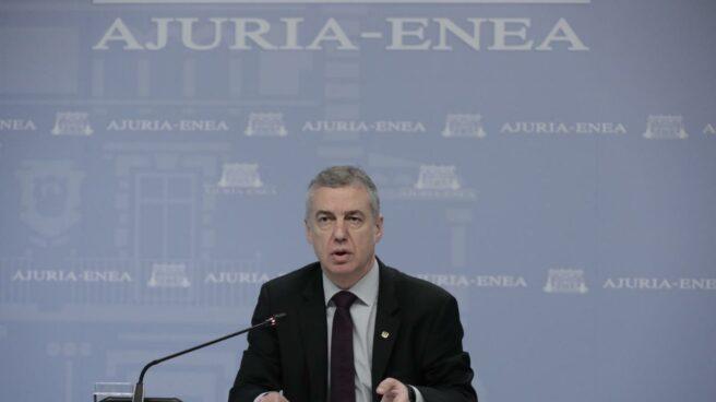El lehendakari, Iñigo Urkullu, durante una comparecencia en Lehendakaritza.