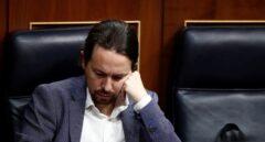El líder de Podemos, Pablo Iglesias, en su escaño del Congreso de los Diputados.