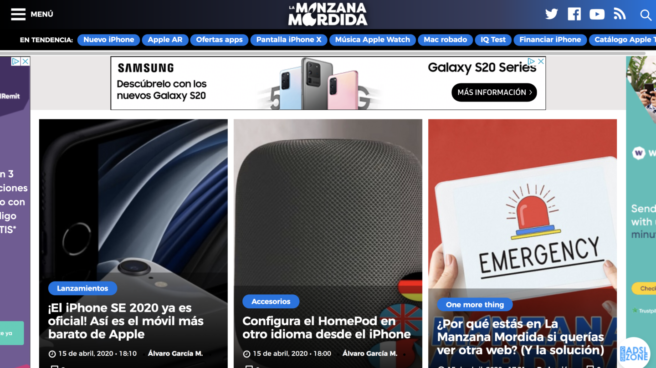 "Portada de la web ""La Manzana Mordida"""