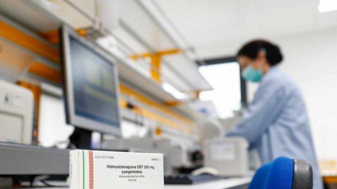 Una caja de comprimidos de hidroxicloroquina en en el Centro Militar de Farmacia de la Defensa (Cemilfar).