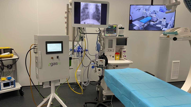 Respirador en un centro hospitalario.