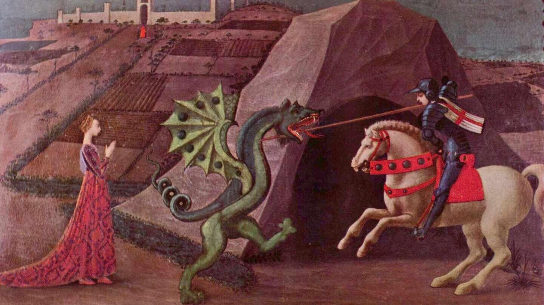 Imagen de la leyenda catalana de Sant Jordi, en la que el caballero clava la espada al dragón