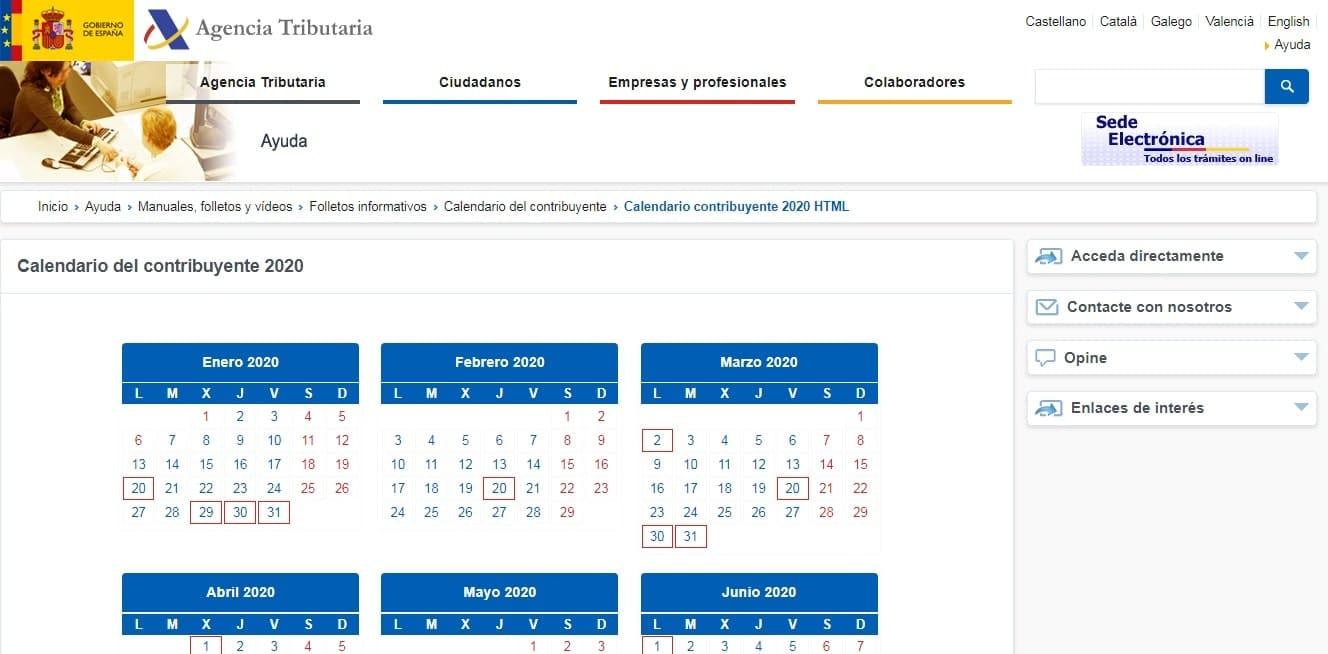 autónomos calendario fiscal coronavirus
