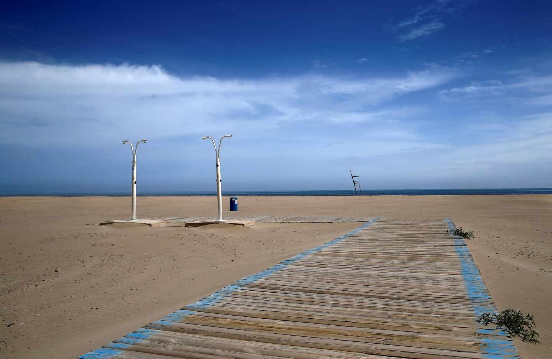 Las playas de Valencia vacías durante el estado de alarma.