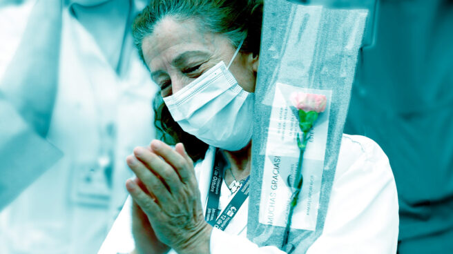 Homenaje al personal sanitario del Hospital 12 de Octubre de Madrid