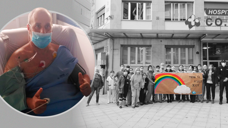 Juan Molina durante la estancia en la UCI. A la derecha, homenaje al personal sanitario a las puertas del hospital en el que ha estado ingresado.