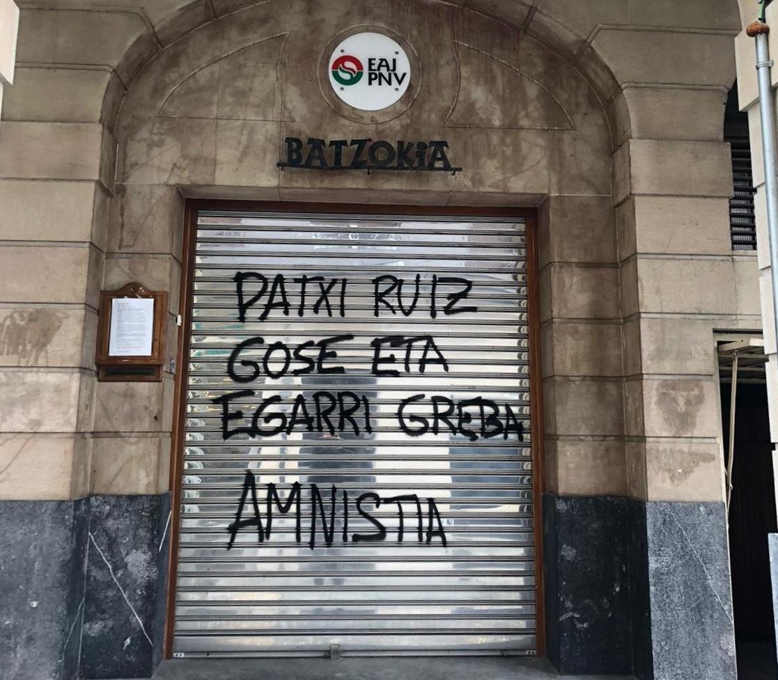 Ataque al batzoki del PNV en Repelega (Portugalete) ocurrido la pasada noche.