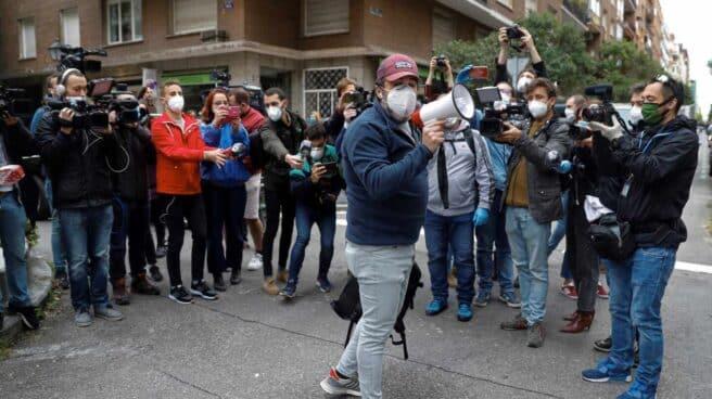 Joaquín Ariza durante las protestas del jueves en el barrio de Salamanca