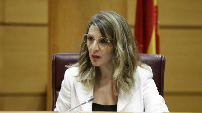 Yolanda Díaz, ministra de Trabajo en su comparecencia en el Senado.