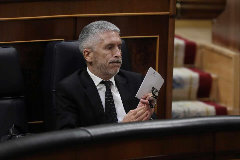 El ministro del Interior, Fernando Grande-Marlaska, en su escaño del Congreso este miércoles.