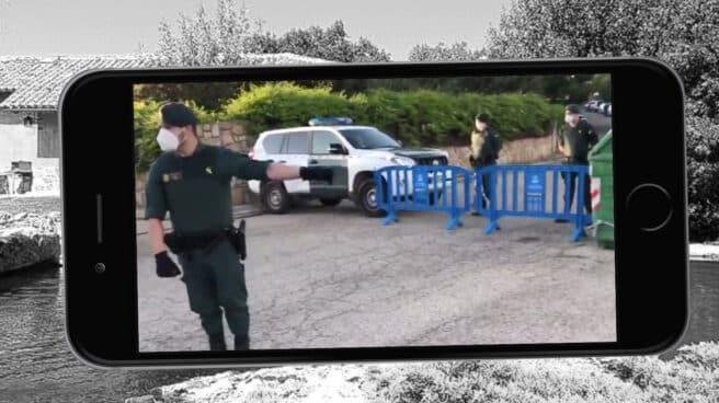 Despliegue de la Guardia Civil en las inmediaciones del chalé de Pablo Iglesias e Irene Montero en Galapagar (Madrid).