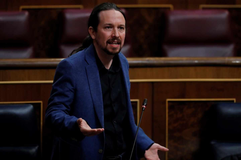 El vicepresidente Pablo Iglesias, en una sesión de control al Gobierno en el Congreso de los Diputados.
