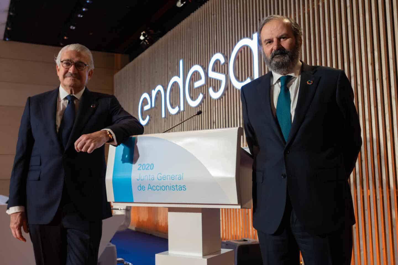 El consejero delegado de Endesa, José Bogas, y su presidente, Juan Sánchez Calero.