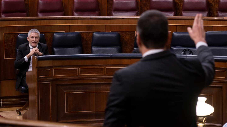 El ministro del Interior, Fernando Grande-Marlaska, este miércoles durante la sesión de control al Gobierno en el Congreso.