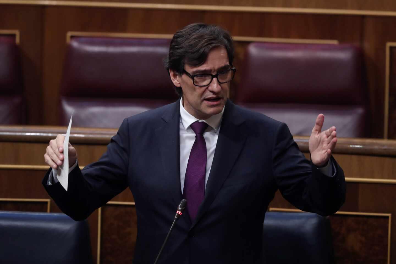 El ministro de Sanidad, Salvador Illa, en una intervención esta semana en el Congreso de los Diputados.