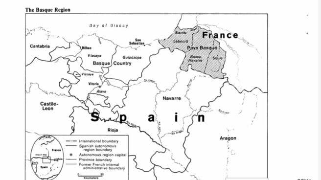 Mapa de Euskadi, Navarra y el País Vasco francés incluido en el informe de la CIA.