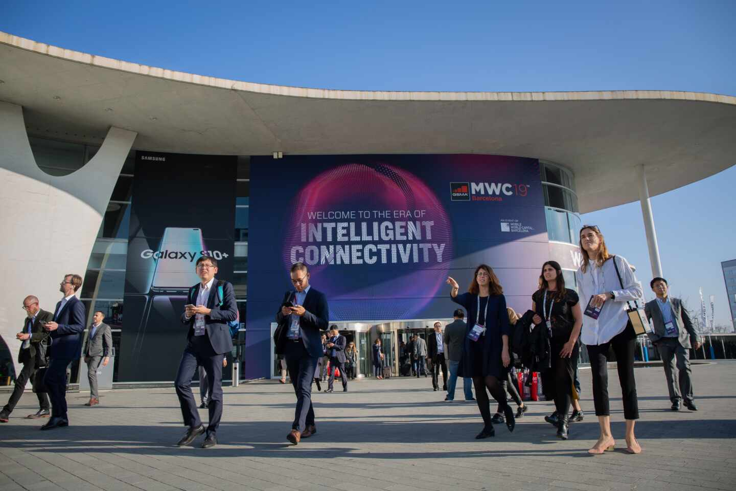 Asistentes al Mobile World Congress (MWC) de Barcelona en 2019.