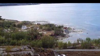 El espectacular corrimiento de tierra que arrastra al mar casas enteras en Noruega