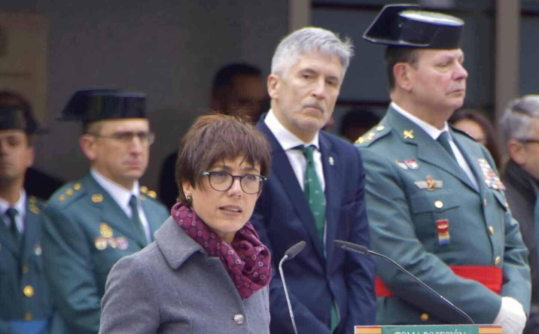 La directora de la Guardia Civil, María Gámez, junto al ministro de Interior, Grande Marlaska, y el ex DAO Laurentino Ceña.