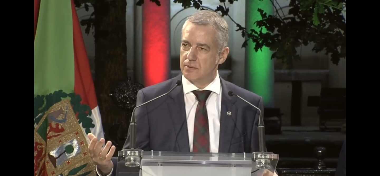 El lehendakari Iñigo Urkullu durante el acto de inicio de la campaña electoral del PNV en la Casa de Juntas de Gernika.