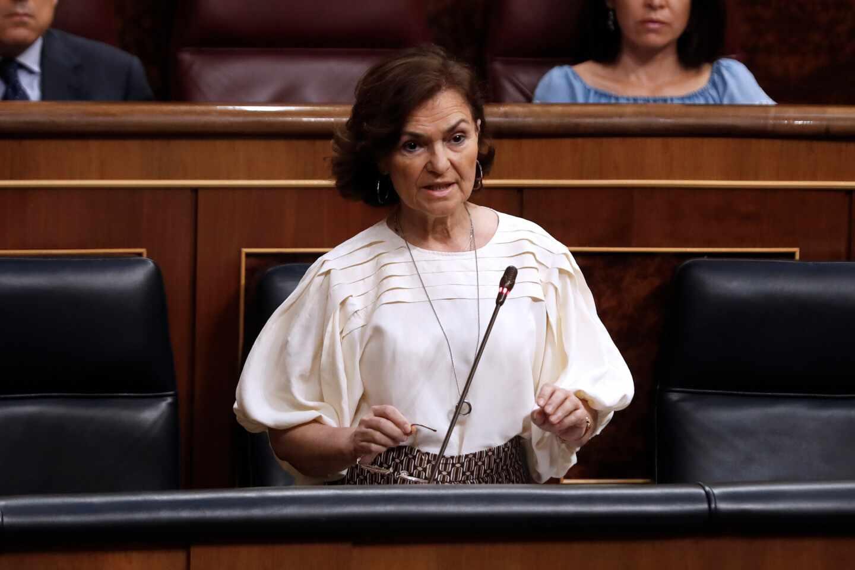 Carmen Calvo, en el Congreso de los Diputados.