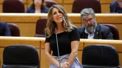 La ministra Yolanda Díaz 'hace campaña' en el Senado contra Feijóo