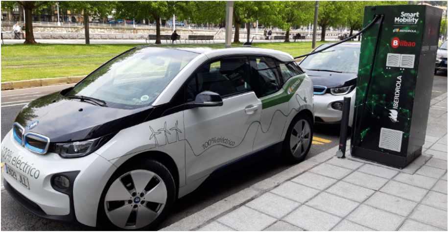 Un coche eléctrico en un punto de recarga.