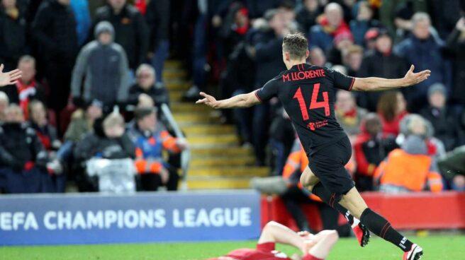 El jugador del Atlético de Madrid Marcos Llorente celebra un gol en la victoria ante el Liverpool en Anfield.