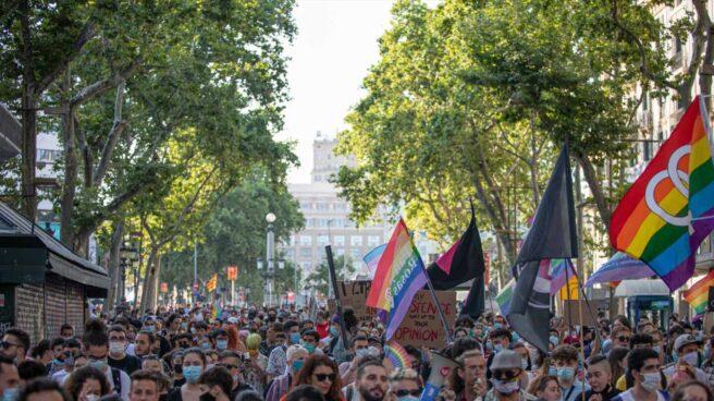Manifestantes en Barcelona, este sábado, durante la marcha del Orgullo.