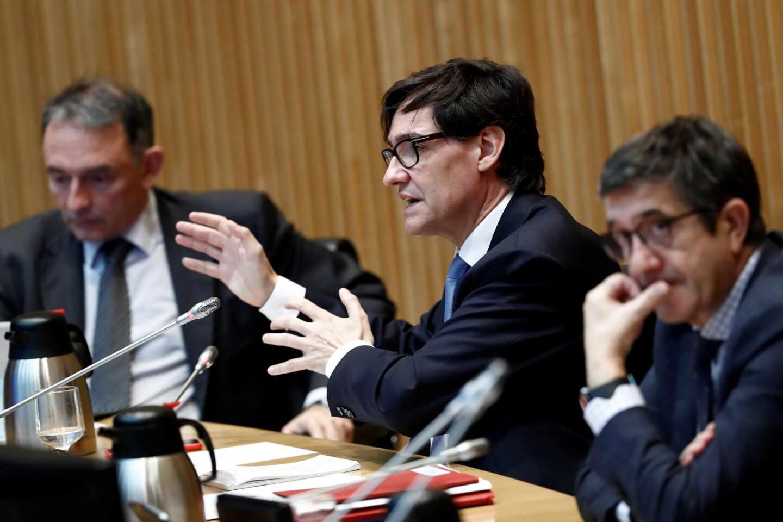 Patxi López, Salvador Illa y Enrique Santiago, en la comisión de reconstrucción del Congreso.