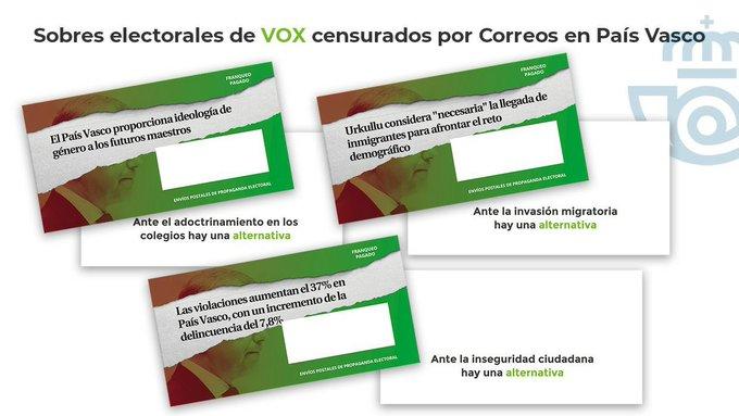 Sobres electorales de Vox para las elecciones del 12-J en el País Vasco.