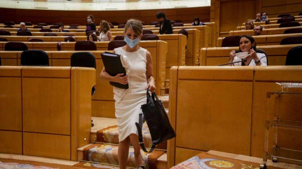 La ministra de Trabajo, Yolanda Díaz en el Senado.