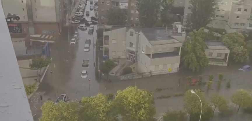Inundaciones en Fuenlabrada (Madrid) tras una monumental tromba de agua